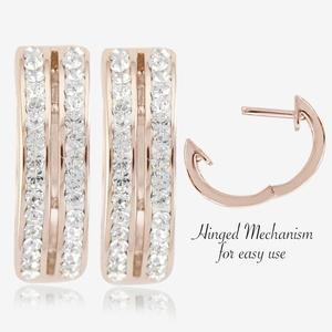 Fortuna Rose Huggie Earrings Made With Swarovski® Crystals