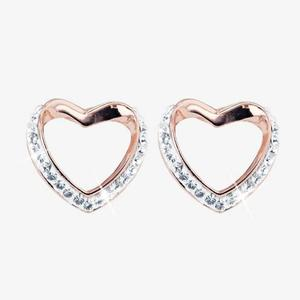 Petra Rose Heart Earrings Made With Swarovski<sup>®</sup>  Crystals