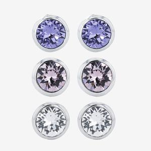 Set of 3 Pairs of Earrings Made With Swarovski<sup>®</sup> Crystals