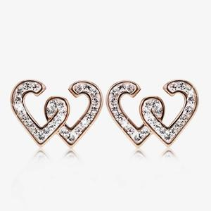 Entwined Rose Heart Earrings Made With Swarovski<sup>&reg;</sup> Crystals
