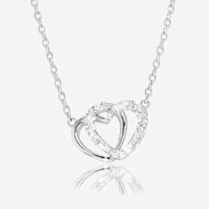 Swarovski® Crystals Double Heart Necklace