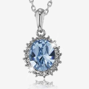 Swarovski® Crystals Blue Oval Necklace