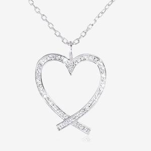 Swarovski® Crystals Cross Over Heart Necklace