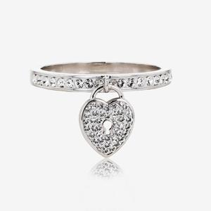 Padlock Band Ring Made With Swarovski® Crystals