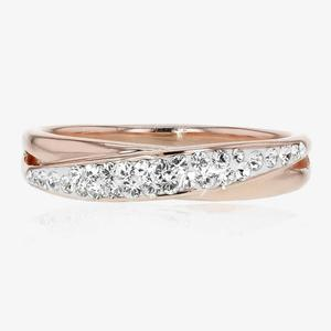 Swarovski® Crystals Rose Gold Finish Crossover Ring