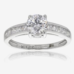 Saina 9ct White Gold DiamonFlash<sup>&reg;</sup> Cubic Zirconia Solitaire Ring