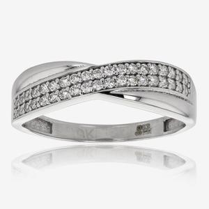 Elena 9ct White Gold DiamonFlash<sup>®</sup> Cubic Zirconia Cross Over Ring