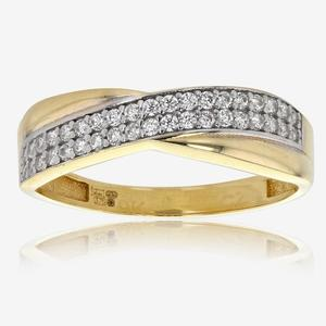 Avienda 9ct Gold DiamonFlash<sup>®</sup> Cubic Zirconia Cross Over Ring