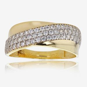 Floria 9ct Gold DiamonFlash<sup>&reg;</sup> Cubic Zirconia Cross Over Ring