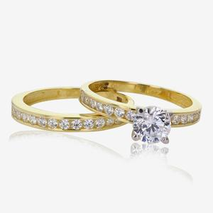 9ct Gold DiamonFlash® Cubic Zirconia Duet 2 Ring Set