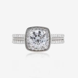 9ct White Gold DiamonFlash® Cubic Zirconia Cluster Ring