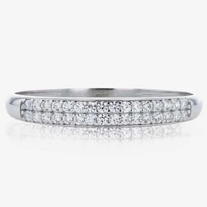 9ct White Gold 2 Row Eternity Band Ring