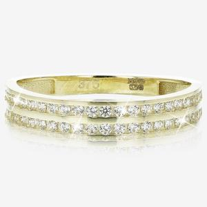 9ct Gold DiamonFlash® Cubic Zirconia 2 Row Eternity Ring