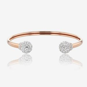 Sterling Silver Crystal Torque Bangle