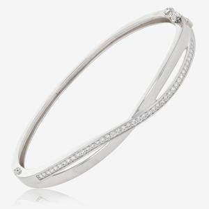 Sterling Silver DiamonFlash<sup>&reg;</sup> Cubic Zirconia Bangle
