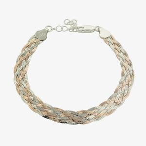 Avdotia Sterling Silver Two Colour Braid Bracelet