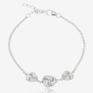 Sterling Silver DiamonFlash® Cubic Zirconia Knot Bracelet