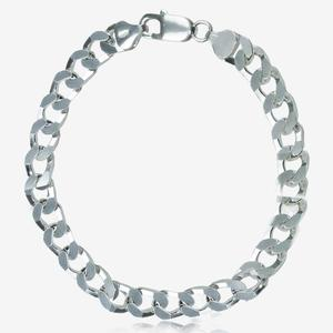 Sterling Silver Men's Square Curb Link Bracelet