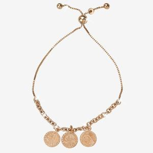 Sterling Silver Rose Gold Finish Coin Friendship Bracelet