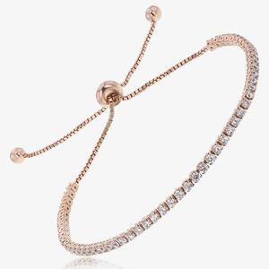Sterling Silver Rose Gold Finish Friendship Bracelet
