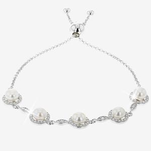 Silver Cultured Freshwater Pearl Friendship Bracelet
