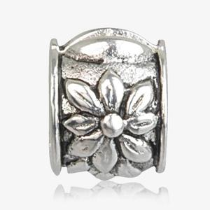 Real Sterling Silver Flower Stopper Threader Charm