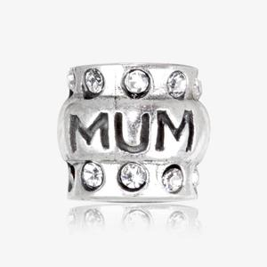 Real Sterling Silver And Crystal Mum Threader Charm