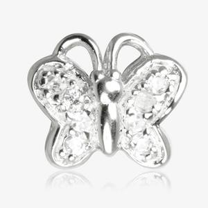 Sterling Silver DiamonFlash<sup>&reg;</sup> Cubic Zirconia Butterfly Threader Charm