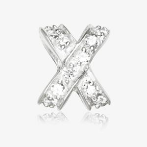 Real Sterling Silver DiamonFlash<sup>&reg;</sup> Cubic Zirconia Kiss Threader Charm