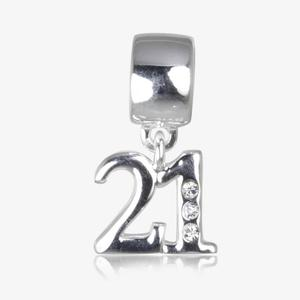 Real Sterling Silver With Crystal 21 Dangler Charm