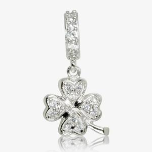 Real Sterling Silver DiamonFlash<sup>&reg;</sup> Cubic Zirconia 4 Leaf Clover Dangler Charm
