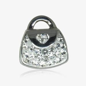 Real Sterling Silver Crystal Handbag Threader Charm