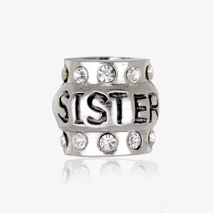 Real Sterling Silver Crystal Sister Threader Charm
