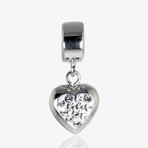 Real Sterling Silver Crystal Heart Dangler Threader Charm