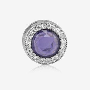 Sterling Silver Amethyst Cubic Zirconia Charm