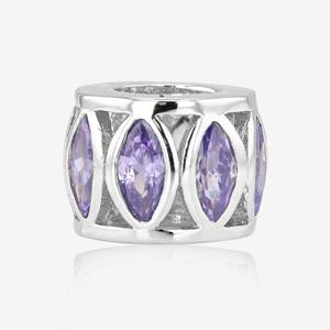Sterling Silver Amethyst DiamonFlash® Cubic Zirconia Charm