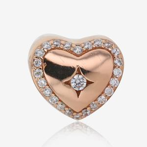 Sterling Silver Heart Charm - Rose Gold Finish