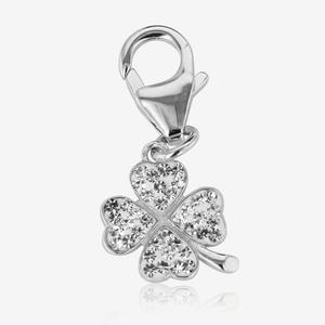Sterling Silver Crystal Four Leaf Clover Charm