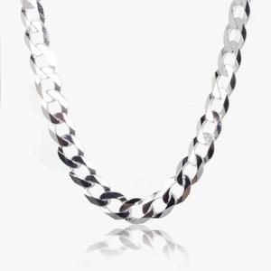"Sterling Silver Men's 20"" Diamond Cut Curb Chain"