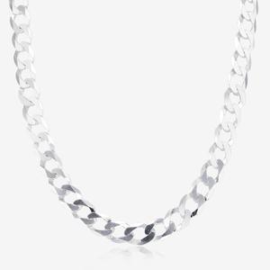 "Sterling Silver 18"" Diamond Cut Curb Chain"