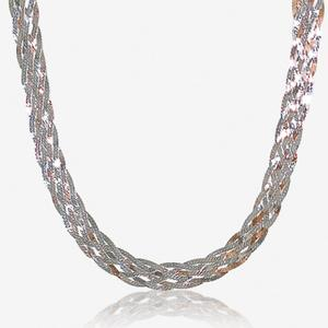 "The Avdotia Sterling Silver 18"" Two Colour Braid Necklace"