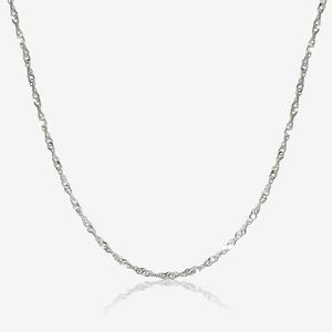 "Sterling Silver 18"" Singapore Chain Necklace"