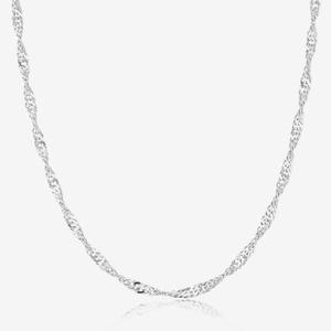 "Sterling Silver 16"" Singapore Style Chain for Her"