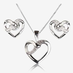 Caprice Real Sterling Silver Diamond Earrings & Necklace Set