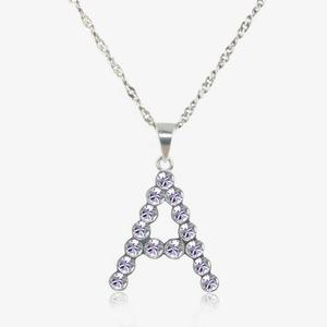 Real Sterling Silver &#39;A&#39; Initial Necklace Made With Swarovski<sup>&reg;</sup> Crystals