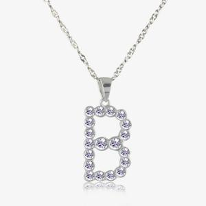 Sterling Silver &#39;B&#39; Initial Necklace Made With Swarovski<sup>&reg;</sup> Crystals