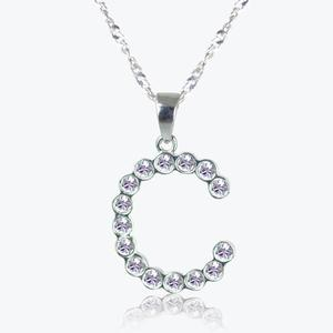 Real Sterling Silver &#39;C&#39; Initial Necklace Made With Swarovski<sup>&reg;</sup> Crystals