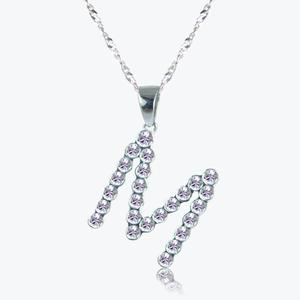 Real Sterling Silver &#39;M&#39; Initial Necklace Made With Swarovski<sup>&reg;</sup> Crystals