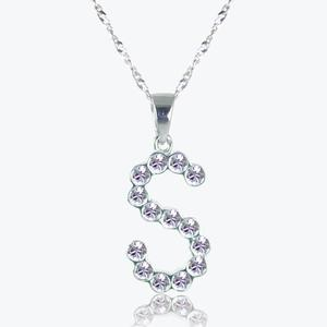 Real Sterling Silver &#39;S&#39; Initial Necklace Made With Swarovski<sup>&reg;</sup> Crystals