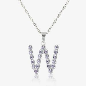 Real Sterling Silver &#39;W&#39; Initial Necklace Made With Swarovski<sup>&reg;</sup> Crystals